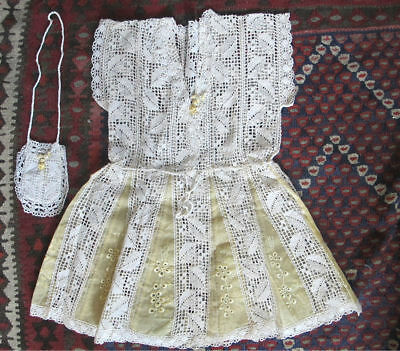 Antique Fine CROCHET Lace FLOWER Baby Children's Doll Dress & Purse