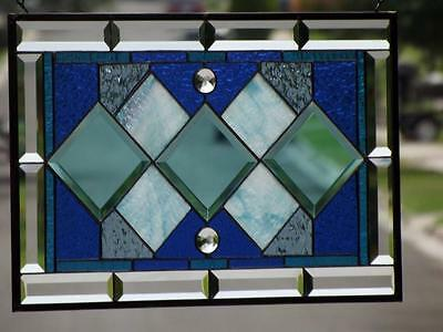 """•TIMELESS•Beveled Stained Glass Window Panel • 20 ½""""x13 ½""""(52x35Cm)"""