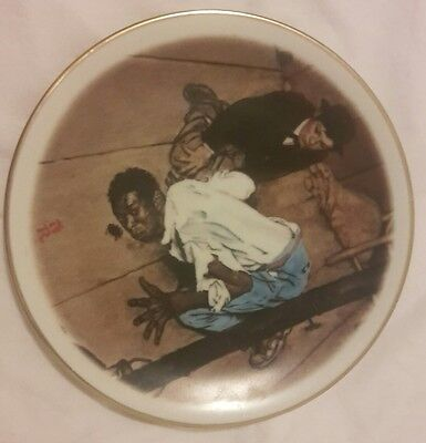 """Norman Rockwell """"Listening"""" The Adventures of Huck Finn Fine China Plate"""