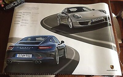 Large PORSHE 911 CARRERA 2013/14 Double Sided Calendar Poster With SHARPIE