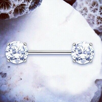 Olivia | Silver Nipple Piercings Gem Nipple Bars Nipple Jewellery Nipple Rings