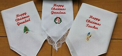 Ladies/Gents Personalised Handkerchief Hankie-Bride-groom-Mum-Dad-wedding Gifts