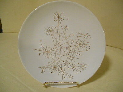 "Rare MCM Set of 8 Royal China ""STAR"" Pattern Atomic Starburst Gold Dinner Plates"