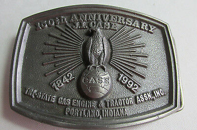1992 J.I. CASE 150th Annv. Belt Buckle, PORTLAND INDIANA Steam & Tractor Show
