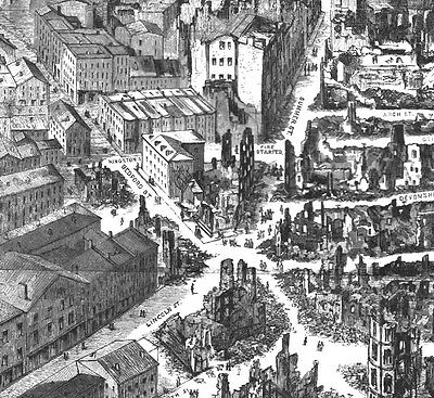 BOSTON * HUGE 1872 BIRDSEYE VIEW MAP Rare Panorama of City W/ AREA OF GREAT FIRE