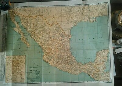 1930's Rand McNally Pocket Map MEXICO showing political divisions,cities