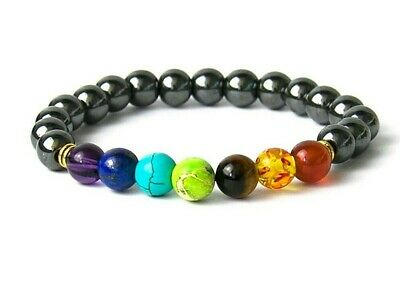 7 Chakra Power Bead Crystal Gemstone Reiki Stone Bracelet Wrap for Men Women UK