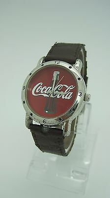 Coca Cola RED FACE Watch Brown Leather Coca-cola band 2002 COLLECTABLE!