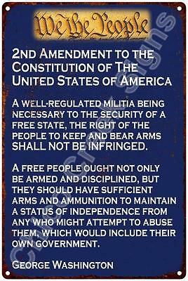 2nd Amendment of the Constitution on Blue Reproduction 12x18 Metal Sign 2180064