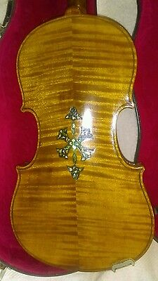 Old Antique 4/4 violun, Tiger Back, Inlays, Clean and good Case