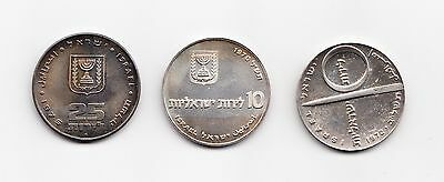 Lot of 3 1970, 1972, 1975 ISRAEL INDEPENDENCE SILVER COINS 10 LIROT .900 SILVER