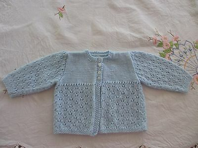 Vintage Baby knitted Jacket / cardigan Blue,beautifully handmade by grandma