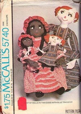 McCalls 5740 Vintage Doll Pattern Stuffed Rag Mommy Mother & Baby Black Doll