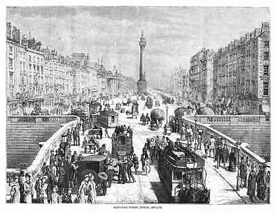 DUBLIN Ireland - Panoramic view of SACKVILLE (O'CONNELL) STREET * 1878 Engraving