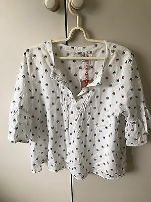 Lee Cooper Women's Dobby Blouse Top SiZe 14 White Navy Blue NWT Rp$35
