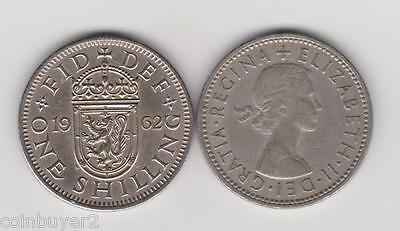 1962 England UK - 1 Shilling - Elizabeth II   (Scottish Crest)   KM#904