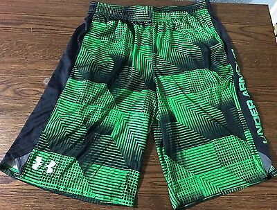 Boys Under Armour Shorts Size YLX Large Youth Athletic Green Black Loose