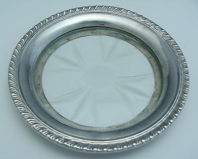 Antique Cartier 925 Sterling Silver Crystal Insert Wine Bottle Coaster Tray Rare