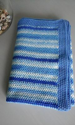 Large Handmade Crochet Baby Cot Blanket in Shades of Blue