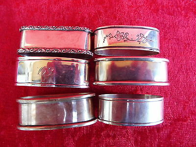 6 beautiful ,antique Napkin Rings__830 Silver___