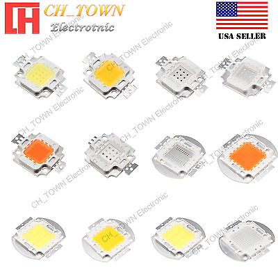 10W 20W 30W 50W 100W White Royal Blue RGB High Power LED Chip Light USA Seller