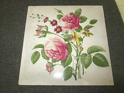 Beautiful Vintage French Floral Tile