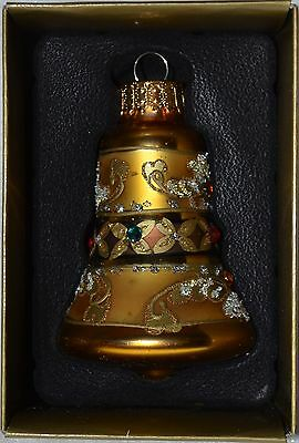 Glass Bell Ornament~Metallic~Gold~Sparkle~Christmas~Easter~Holiday~Tree~NEW