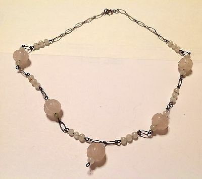 """Antique Chinese Art Deco Sterling Silver Carved Rose Quartz Necklace. 16""""."""