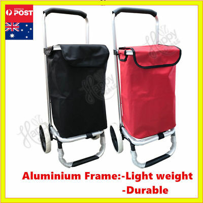 Aluminium Luggage Cart Shopping Market Bag Basket Wheels Trolley Foldable