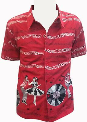 Mens Rockabilly 50s Red Jive Dancers Banned Empower Cotton Shirt