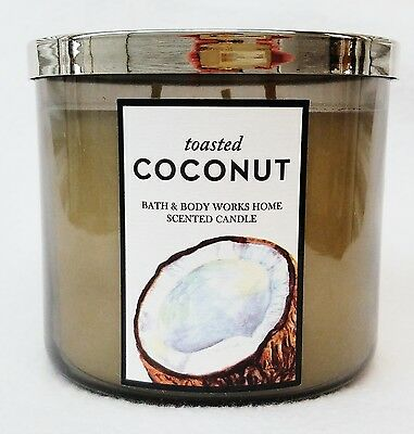 1 Bath Body Works TOASTED COCONUT Large Scented 3-Wick Candle 14.5 oz