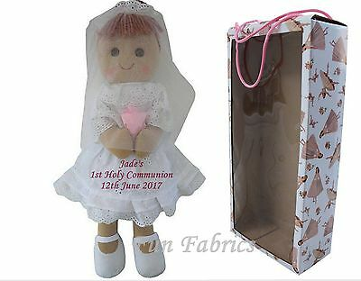 Personalised Rag Doll First Holy Communion Dolly Gift + FREE PRESENTATION BOX