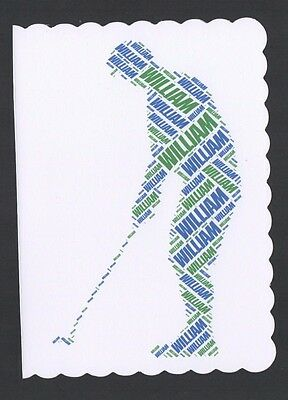 Personalised Golfer Birthday Card  - Any Name And Colour - Son/husband - Golf