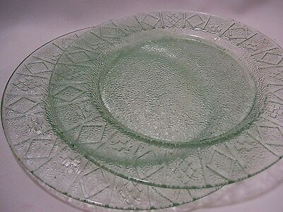 Pair of Glass Green Plates with Geometric Pattern Boarder