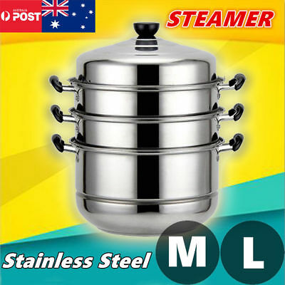 4 Tier 32cm Stainless Steel Steamer Cooking Food Stock Hot Pot Cookware 4 Layers