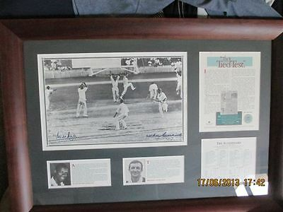 Tied Test Print Signed By Benaud And Hall