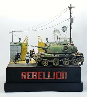 Rebellion Diorama With Zsu-57-2 And Figures, Built, Gebaut, 1/35