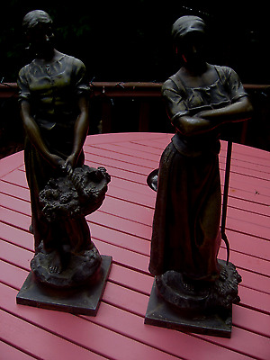 2 Cast Metal Figures By A. J. Scotte  Copy Right 1906 18'' Tall