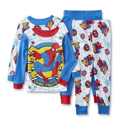 Marvel Boys' Spiderman 4-Piece Cotton Pajama Set, Blue, 18 Months