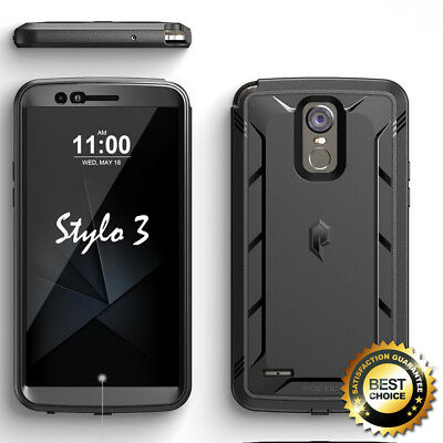 For LG Stylo 3 Poetic Revolution Series Rugged Case Built-In Screen Protector BK