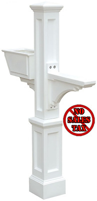 Mayne Large White Traditional Decorative Polymer Mailbox Post Pole w/ Planter
