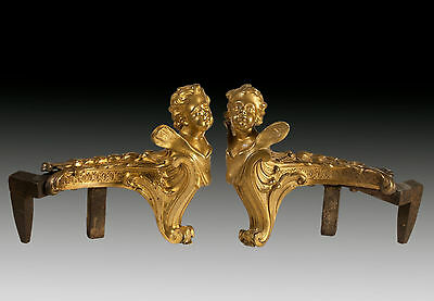 Pair of chimney andirons in gilt bronze and iron. France, 19th century.