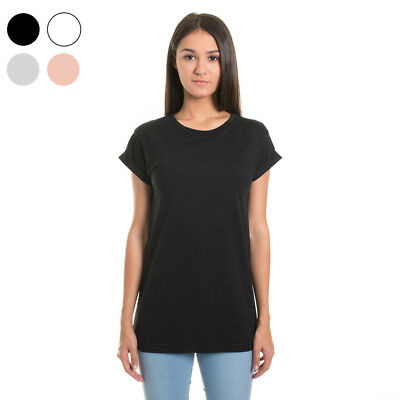 New Womens Plain Relaxed Tee Casual Tshirt 100% Cotton Blank Ladies Size 6 8 +