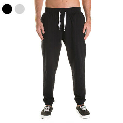 NEW Men's Skinny Plain Track Pants Cotton Adult Cuffed Trousers Bottoms Joggers
