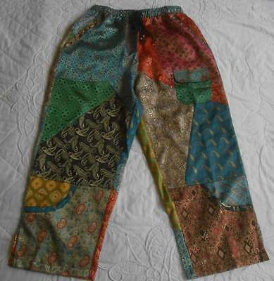 Sacred Threads S Cropped Pant Hippie Harem Satin Patch Ethnic 5 Pocket Art2Wear