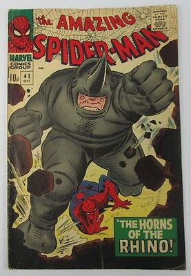 Vintage Spiderman Comic #41 1966 1st Appearance Rhino Very Good Condition