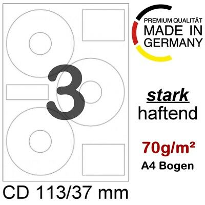 150 CD/DVD Label Etiketten 113/37 mm 3on1 Blueray A4 Ringetiketten Haftetiketten