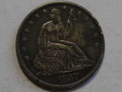 1857-O Seated Liberty Silver Half Dollar - Almost Uncirculated, AU - Details