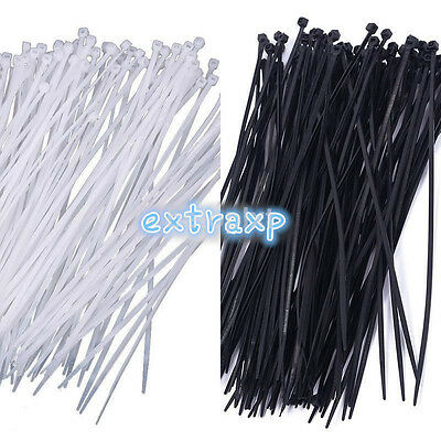"100pcs 8"" 3 x 200mm Nylon Plastic Cable Ties Zip Fasten Wire Wrap Strap Cord FR"