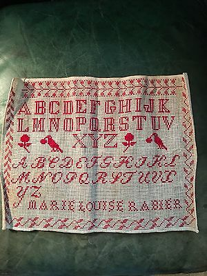 Antique French Embroidery Alphabet Numbers Sampler Provence Birds Flowers Signed